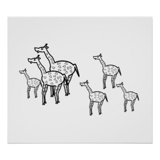 Famille mignonne de girafe poster