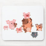 Famille mignonne Mousepad de porc de bande dessiné Tapis De Souris