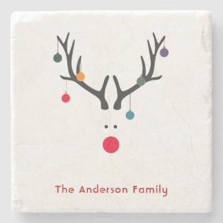 Famille moderne minimaliste de renne de Noël fait Dessous-de-verre En Pierre