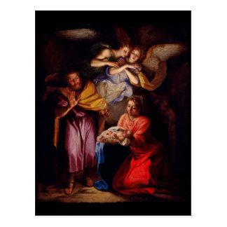 Famille sainte avec des anges par Coypel Carte Postale