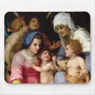 Famille sainte avec les anges, c.1515-16 (huile su tapis de souris