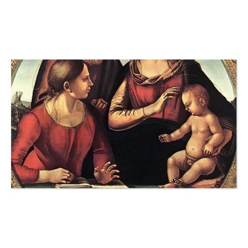 Famille sainte de Luca Signorelli- avec St Catheri Modèles De Cartes De Visite