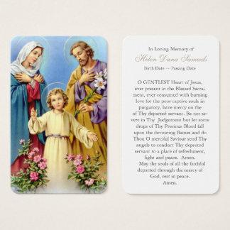 Famille sainte funèbre 10 de la carte   de prière