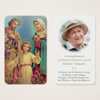 Famille sainte funèbre 9 de la carte   de prière