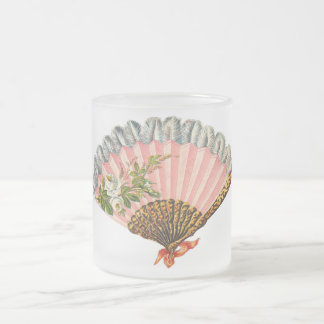 Fan florale vintage mug en verre givré