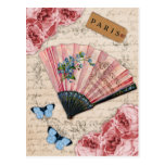 Fan française rose vintage carte postale