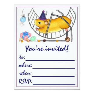 Fanez le hamster carton d'invitation 10,79 cm x 13,97 cm
