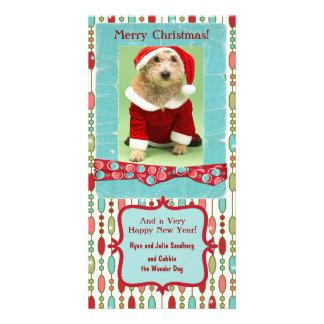 Fantaisie perlé de Noël mignon Cartes Avec Photo