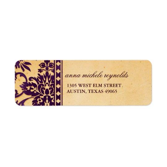Fantaisie vintage de dentelle de damassé étiquette d'adresse retour