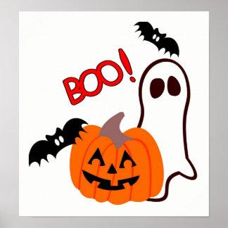 Fantôme de Halloween avec le citrouille Posters
