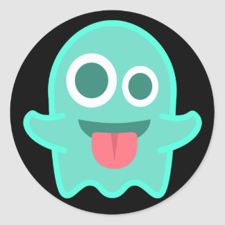 Fantôme drôle Emoji Sticker Rond