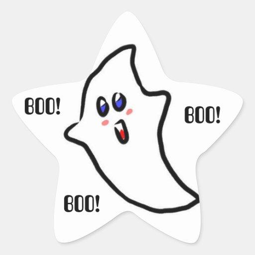 Fantôme mignon de Halloween Sticker En Étoile
