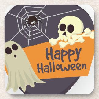 Fantômes heureux et os croisés de Halloween Dessous-de-verre