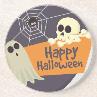 Fantômes heureux et os croisés de Halloween Dessous De Verre En Grès