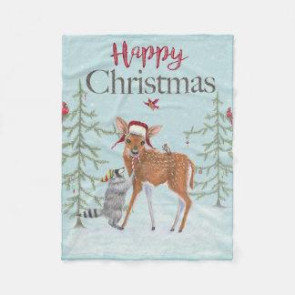 Faon de Noël heureux et couverture d'ouatine de
