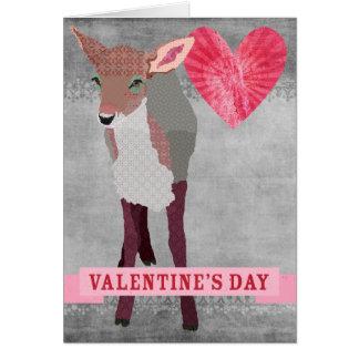 Faon rose rétro Valentine gris Carte De Vœux
