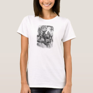 Faon vintage de daine de mâle d'illustration de t-shirt