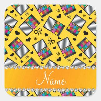 Fard à paupières jaune nommé personnalisé sticker carré