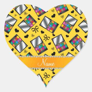 Fard à paupières jaune nommé personnalisé sticker cœur