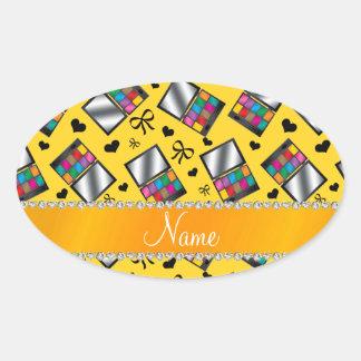 Fard à paupières jaune nommé personnalisé sticker ovale