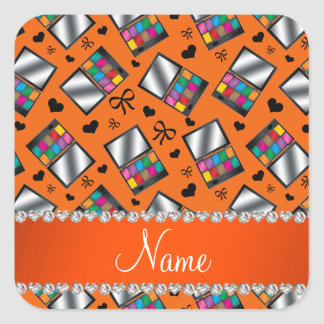 Fard à paupières orange nommé personnalisé sticker carré