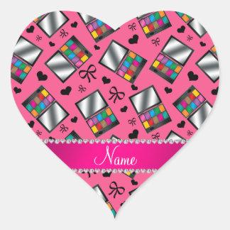 Fard à paupières rose nommé personnalisé sticker cœur