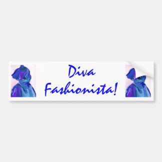 Fashionista de diva dans le bleu I Autocollant Pour Voiture
