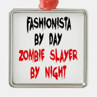 Fashionista de tueur de zombi ornement carré argenté