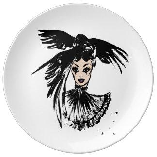fashonillustration de Halloween avec des corbeaux Assiette En Porcelaine