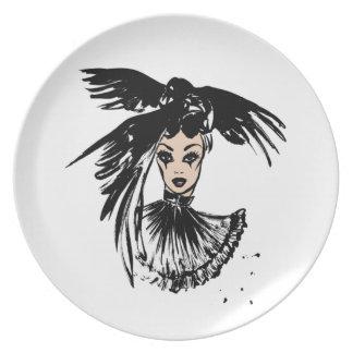 fashonillustration de Halloween avec des corbeaux Assiettes En Mélamine