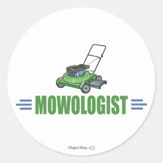 Fauchage humoristique de pelouse sticker rond
