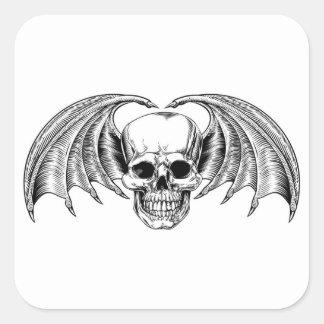 Faucheuse à ailes de crâne sticker carré