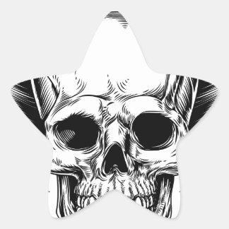 Faucheuse à ailes de crâne sticker étoile