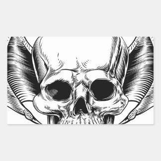 Faucheuse à ailes de crâne sticker rectangulaire