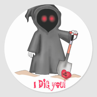 Faucheuse de Valentine Autocollants Ronds