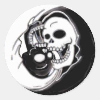 Faucheuse de Ying Yang Sticker Rond