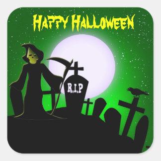 Faucheuse effrayante Halloween décoratif Stickers Carrés