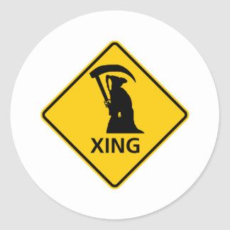 Faucheuse/route Sig croisement de la mort Sticker Rond