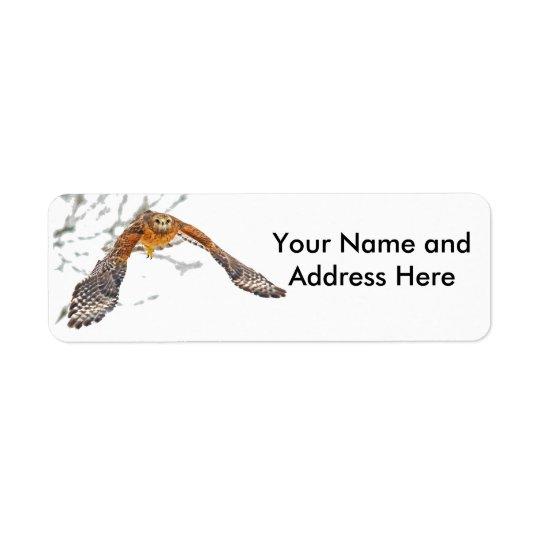 Faucon en vol étiquette d'adresse retour