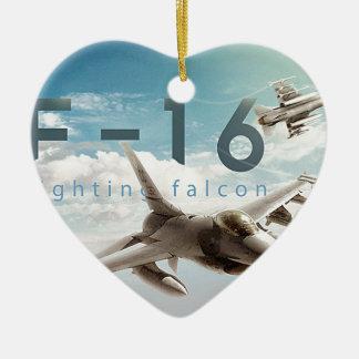 Faucon F-16 de combat Ornement Cœur En Céramique