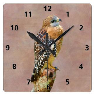 Faucon Rouge-Épaulé Horloge Carrée