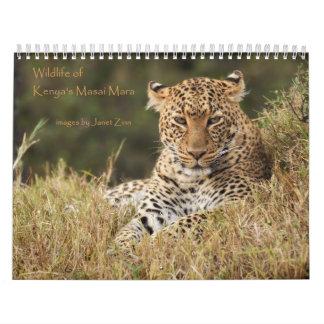 Faune du calendrier de Mara du masai du Kenya