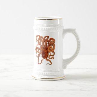 faune vintage de mer - poulpe - tasse de bière