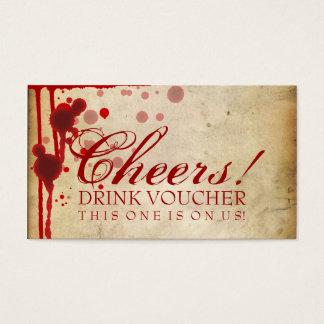 Faux de bon de boissons de Halloween de vampire Cartes De Visite