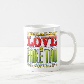 Faux visage bronzage d'amour mug