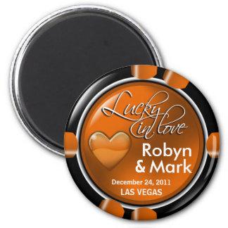 Faveur d'aimant de puce de casino de nouveaux mari magnet rond 8 cm