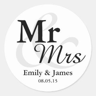Faveur de mariage de Mr&Mrs Sticker Rond