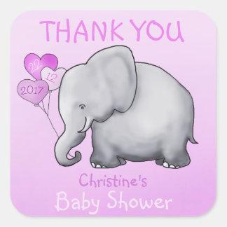Faveur de Merci de baby shower de rose d'éléphant Sticker Carré