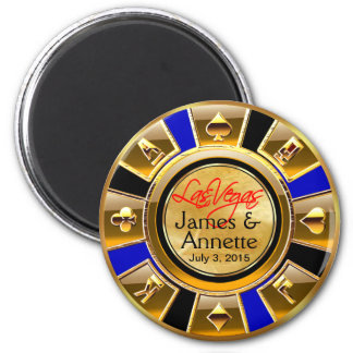 Faveur de puce de casino de noir bleu d'or de Las  Magnet Rond 8 Cm