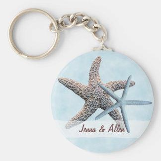 Faveur d'étoiles de mer avec des noms porte-clé rond